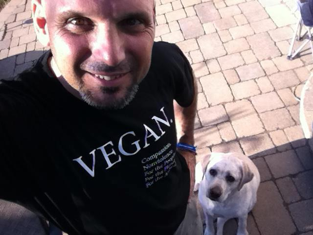 Vegan Shirt selfie with dog